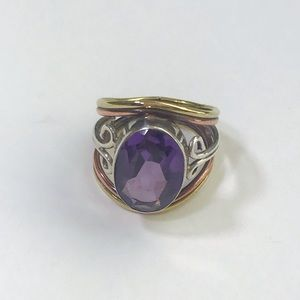 Purple stone mixed metal cocktail ring, size 6